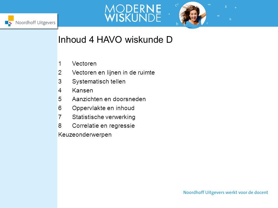Inhoud 4 HAVO wiskunde D 1Vectoren 2Vectoren en lijnen in de ruimte 3Systematisch tellen 4Kansen 5Aanzichten en doorsneden 6Oppervlakte en inhoud 7Sta