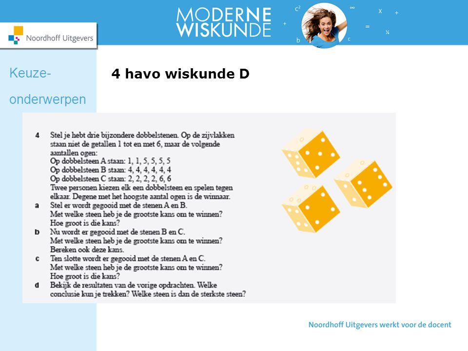 4 havo wiskunde D Keuze- onderwerpen