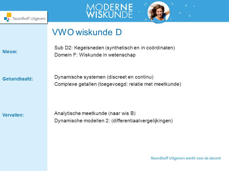 VWO wiskunde D Sub D2: Kegelsneden (synthetisch en in coördinaten) Domein F: Wiskunde in wetenschap Dynamische systemen (discreet en continu) Complexe