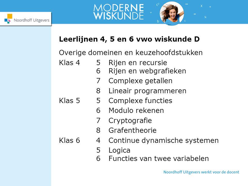 Leerlijnen 4, 5 en 6 vwo wiskunde D Overige domeinen en keuzehoofdstukken Klas 45Rijen en recursie 6Rijen en webgrafieken 7Complexe getallen 8Lineair