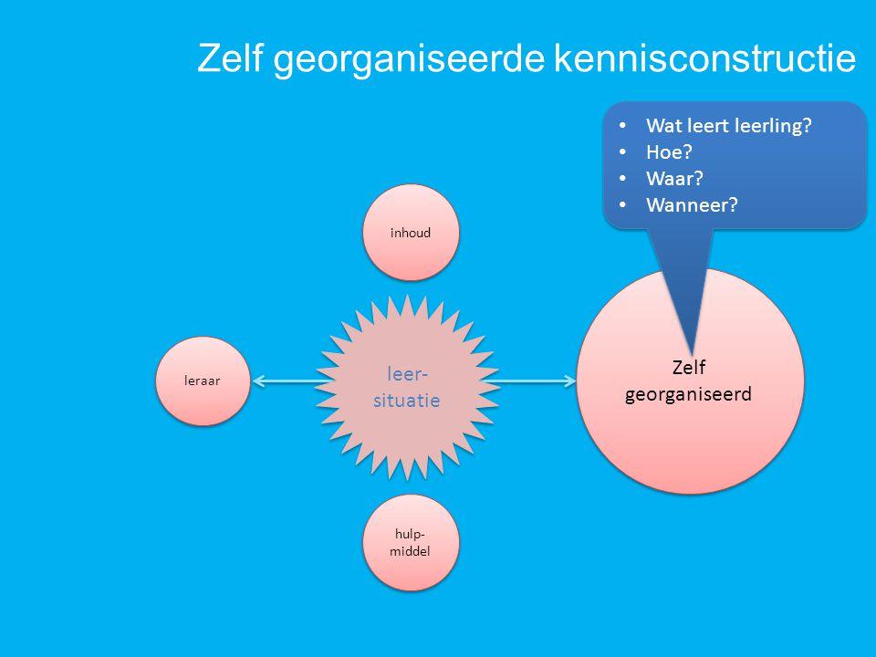 Zelf georganiseerde kennisconstructie Zelf georganiseerd Zelf georganiseerd hulp- middel inhoud leer- situatie Wat leert leerling? Hoe? Waar? Wanneer?