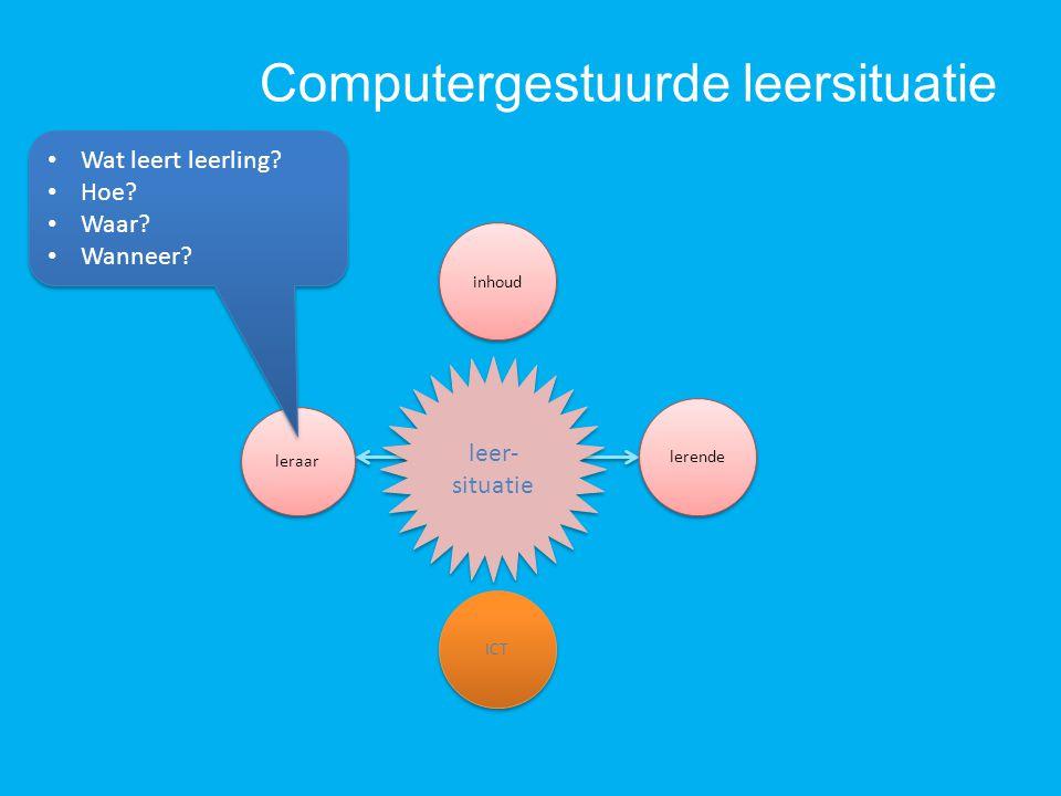 Computergestuurde leersituatie ICT inhoud leer- situatie lerende Wat leert leerling? Hoe? Waar? Wanneer? Wat leert leerling? Hoe? Waar? Wanneer?