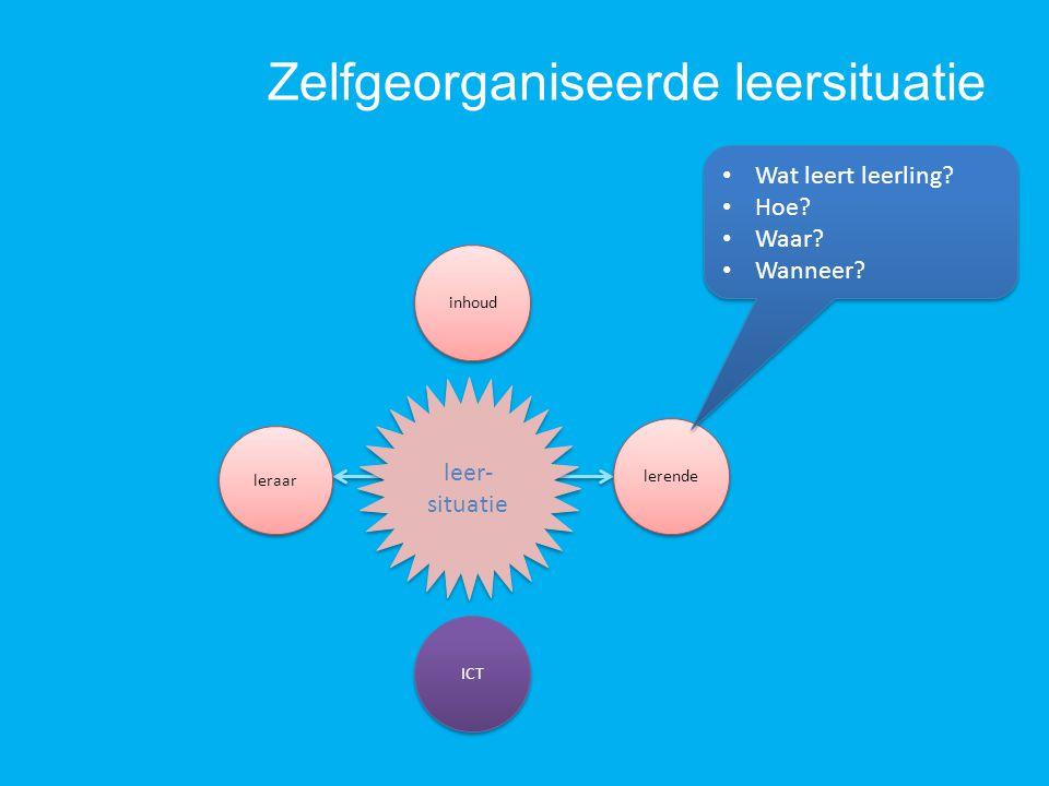 Zelfgeorganiseerde leersituatie ICT inhoud leer- situatie leraar lerende Wat leert leerling? Hoe? Waar? Wanneer? Wat leert leerling? Hoe? Waar? Wannee