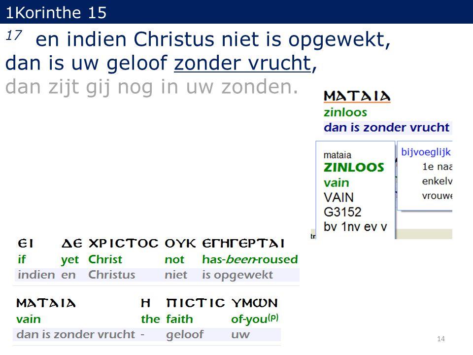 14 1Korinthe 15 17 en indien Christus niet is opgewekt, dan is uw geloof zonder vrucht, dan zijt gij nog in uw zonden.
