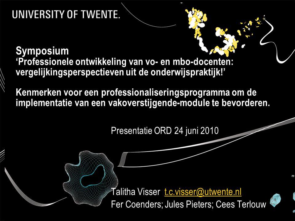 Symposium 'Professionele ontwikkeling van vo- en mbo-docenten: vergelijkingsperspectieven uit de onderwijspraktijk!' Kenmerken voor een professionalis
