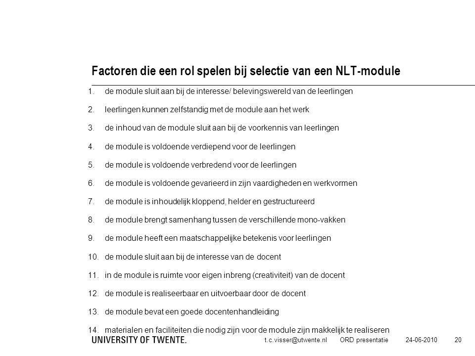24-06-2010t.c.visser@utwente.nl ORD presentatie 20 Factoren die een rol spelen bij selectie van een NLT-module 1.de module sluit aan bij de interesse/