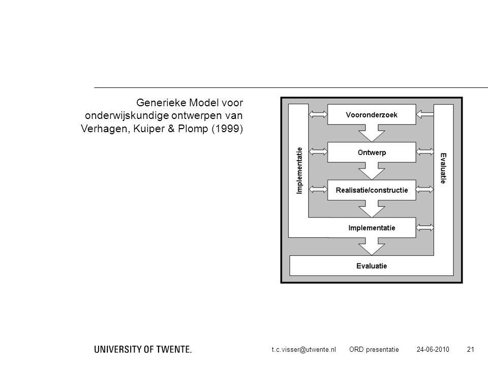 24-06-2010t.c.visser@utwente.nl ORD presentatie 21 Generieke Model voor onderwijskundige ontwerpen van Verhagen, Kuiper & Plomp (1999)
