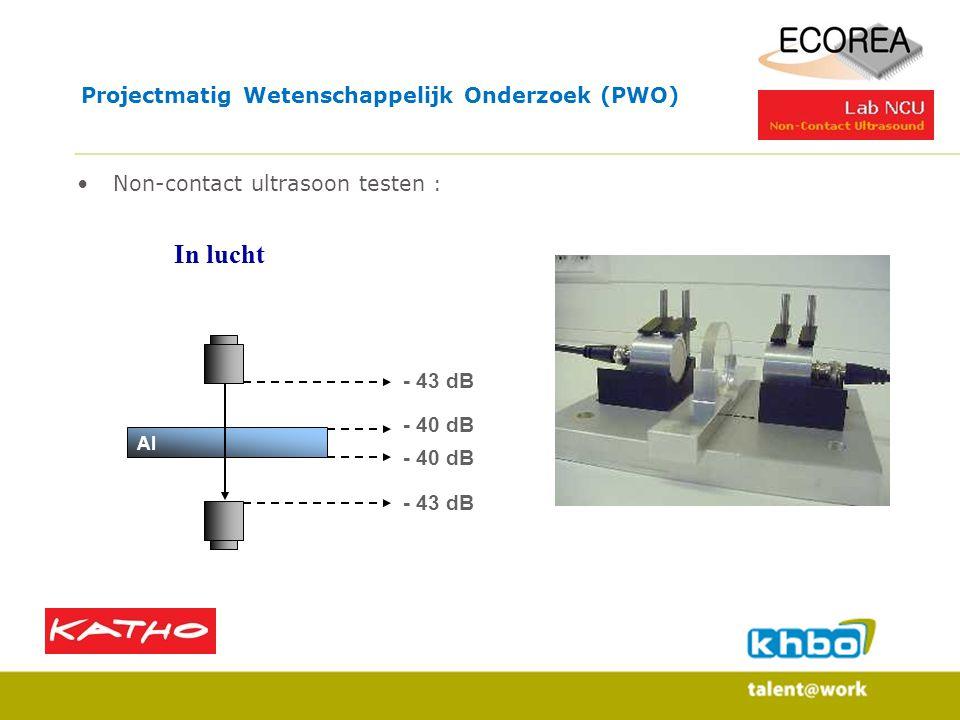 Projectmatig Wetenschappelijk Onderzoek (PWO) Non-contact ultrasoon testen : - 43 dB - 40 dB - 43 dB In lucht Al