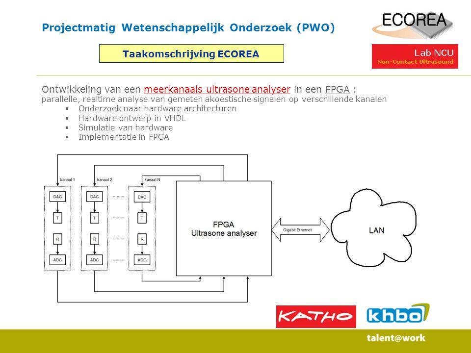 Projectmatig Wetenschappelijk Onderzoek (PWO) Taakomschrijving ECOREA Ontwikkeling van een meerkanaals ultrasone analyser in een FPGA : parallelle, re