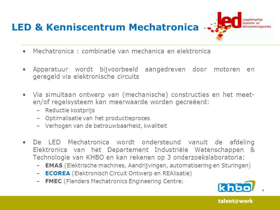 5 LED & Kenniscentrum Mechatronica : ECOREA Onderzoekslaboratorium ECOREA Wetenschappelijk onderzoek LED cases Internationalisering Vorming op maat Inhoud