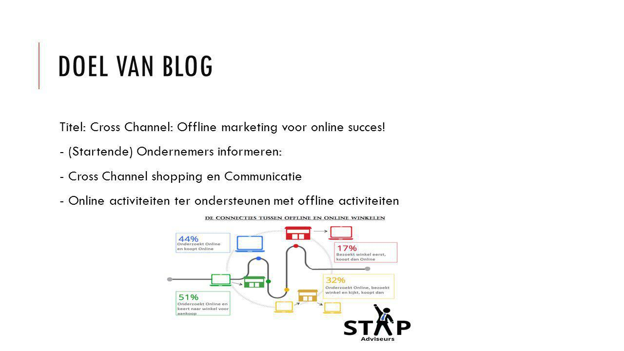 DOEL VAN BLOG Titel: Cross Channel: Offline marketing voor online succes! - (Startende) Ondernemers informeren: - Cross Channel shopping en Communicat