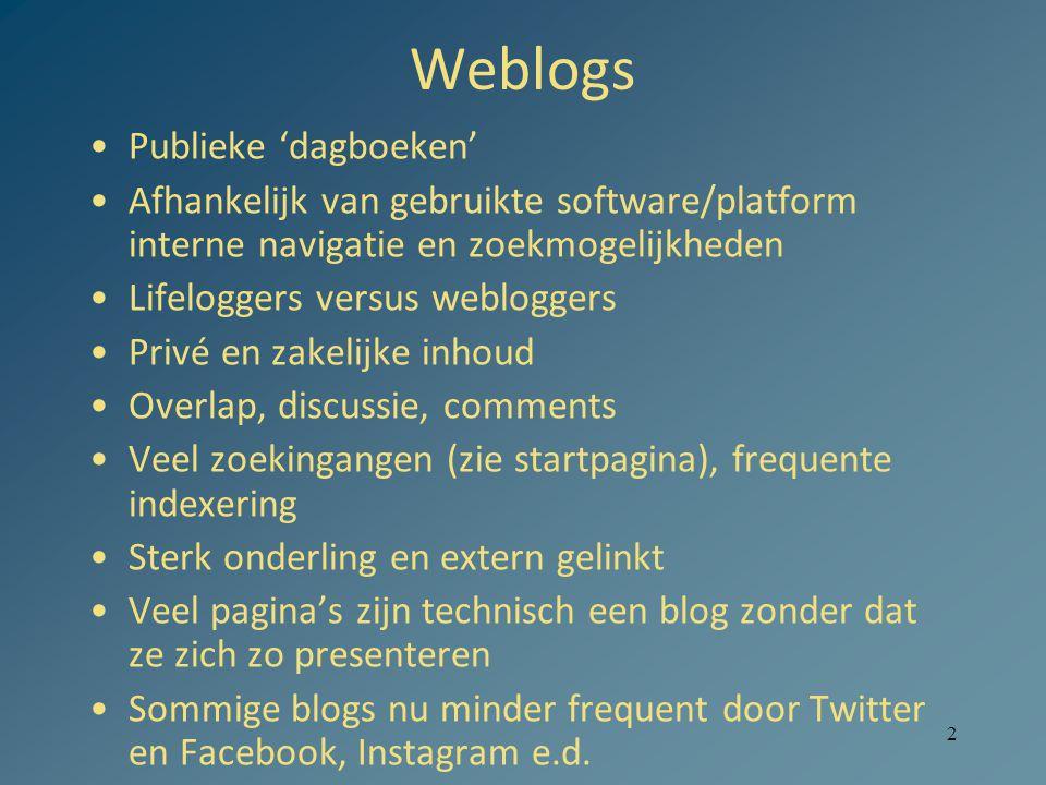 3 RSS Rich Site Summary / Really Simple Syndication Voor sites met (on)regelmatig nieuwe actuele inhoud, bv nieuwsbrieven, weblogs Lezen, beheren web als ware het email Maakt gebruik van xml-structuur Vereist software (reader), bv Feeddemon of lezen in browser of een rss-reader (Netvibes, Feedly) Toevoegen van een 'feed': klik bij pagina op oranje of blauwe RSS of XML-logo of radio-button [voeg soms handmatig van die pagina de url toe aan reader] Drie nauw verwante formats: rss/atom/rdf Syndicatie gebeurt ook commercieel (bv.