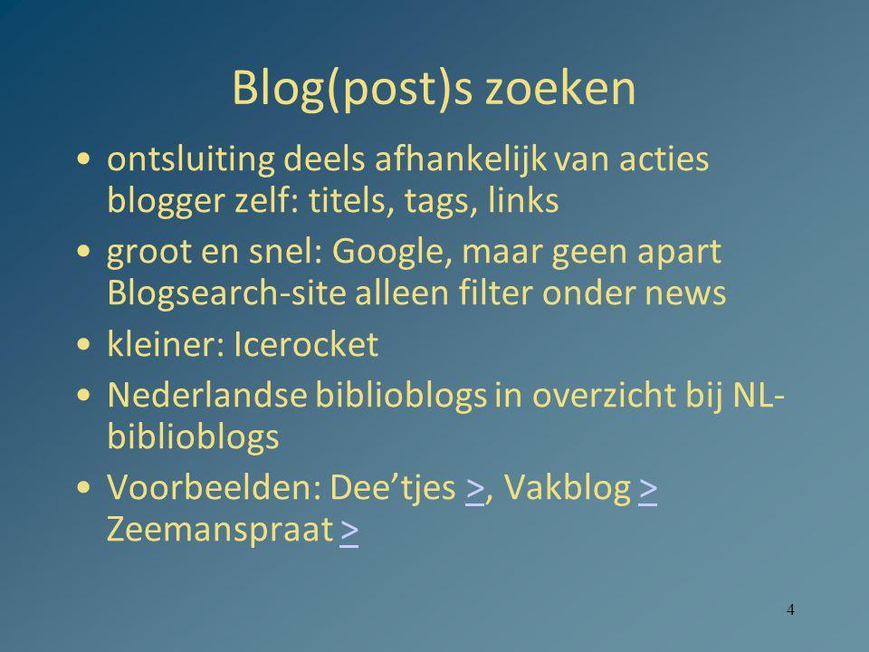 5 Realtime: Twitter Zoekmachines: –Twittersearch, wel adv.