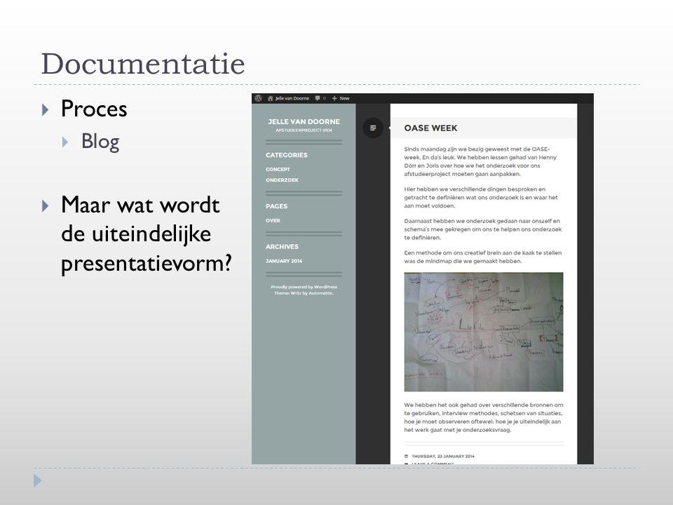 Documentatie  Proces  Blog  Maar wat wordt de uiteindelijke presentatievorm