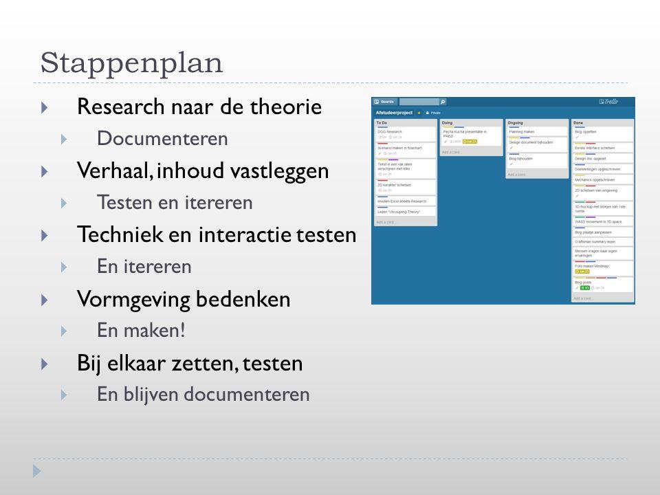 Stappenplan  Research naar de theorie  Documenteren  Verhaal, inhoud vastleggen  Testen en itereren  Techniek en interactie testen  En itereren  Vormgeving bedenken  En maken.