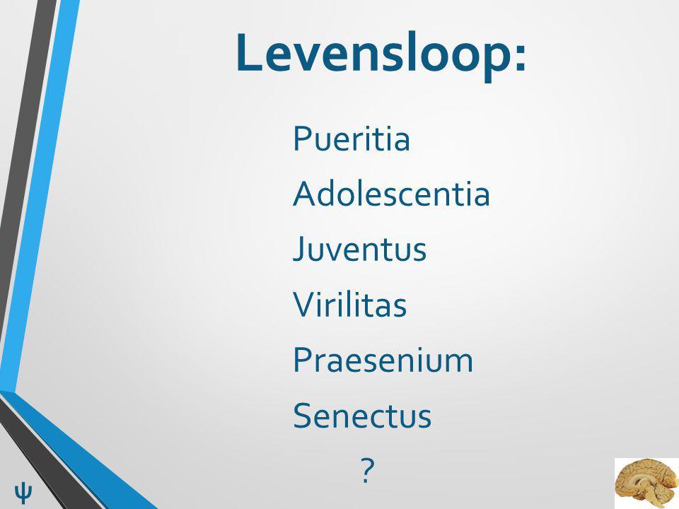 Levensloop: Pueritia Adolescentia Juventus Virilitas Praesenium Senectus ? ψ
