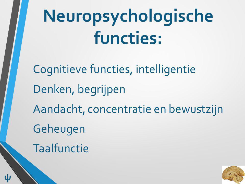 Neuropsychologische functies: Cognitieve functies, intelligentie Denken, begrijpen Aandacht, concentratie en bewustzijn Geheugen Taalfunctie ψ