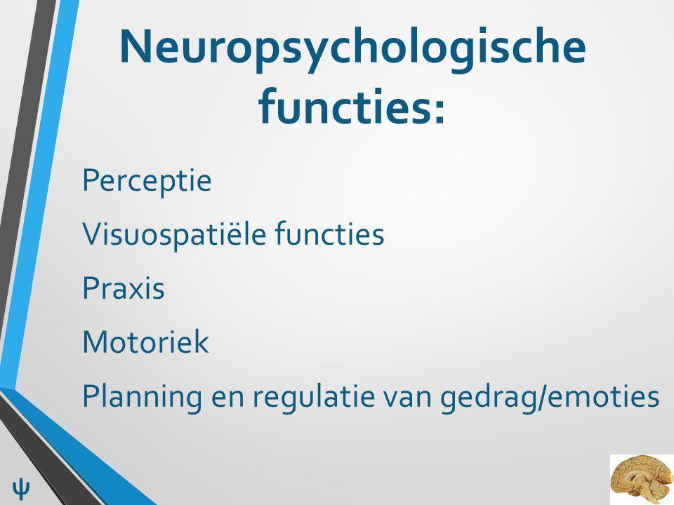Neuropsychologische functies: Perceptie Visuospatiële functies Praxis Motoriek Planning en regulatie van gedrag/emoties ψ