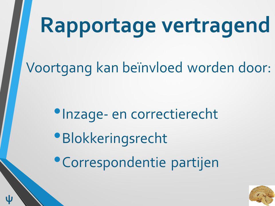Rapportage vertragend Voortgang kan beïnvloed worden door: Inzage- en correctierecht Blokkeringsrecht Correspondentie partijen ψ