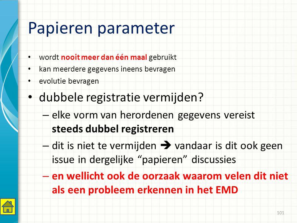 Papieren parameter wordt nooit meer dan één maal gebruikt kan meerdere gegevens ineens bevragen evolutie bevragen dubbele registratie vermijden.