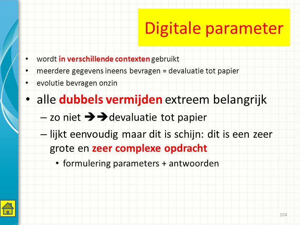 Digitale parameter wordt in verschillende contexten gebruikt meerdere gegevens ineens bevragen = devaluatie tot papier evolutie bevragen onzin alle dubbels vermijden extreem belangrijk – zo niet  devaluatie tot papier – lijkt eenvoudig maar dit is schijn: dit is een zeer grote en zeer complexe opdracht formulering parameters + antwoorden 104
