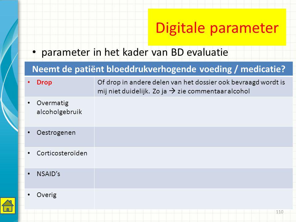110 Neemt de patiënt bloeddrukverhogende voeding / medicatie.