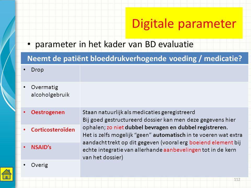 112 Neemt de patiënt bloeddrukverhogende voeding / medicatie.