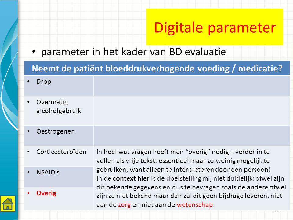113 Neemt de patiënt bloeddrukverhogende voeding / medicatie.