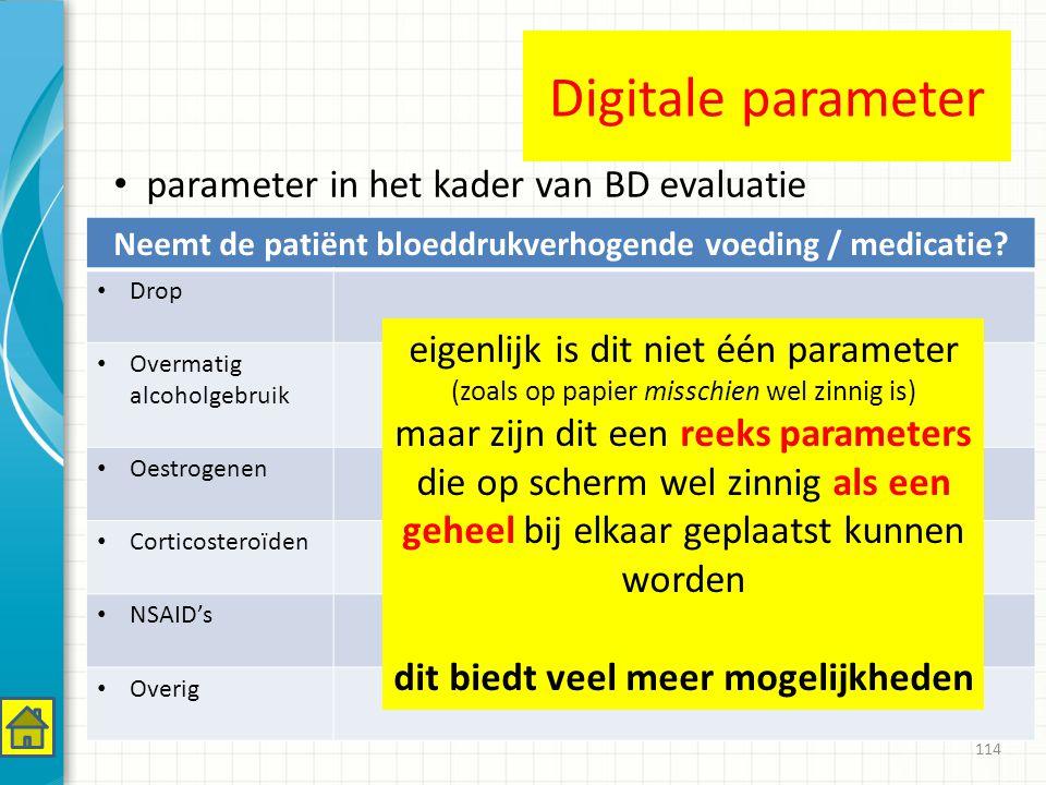 114 Neemt de patiënt bloeddrukverhogende voeding / medicatie.