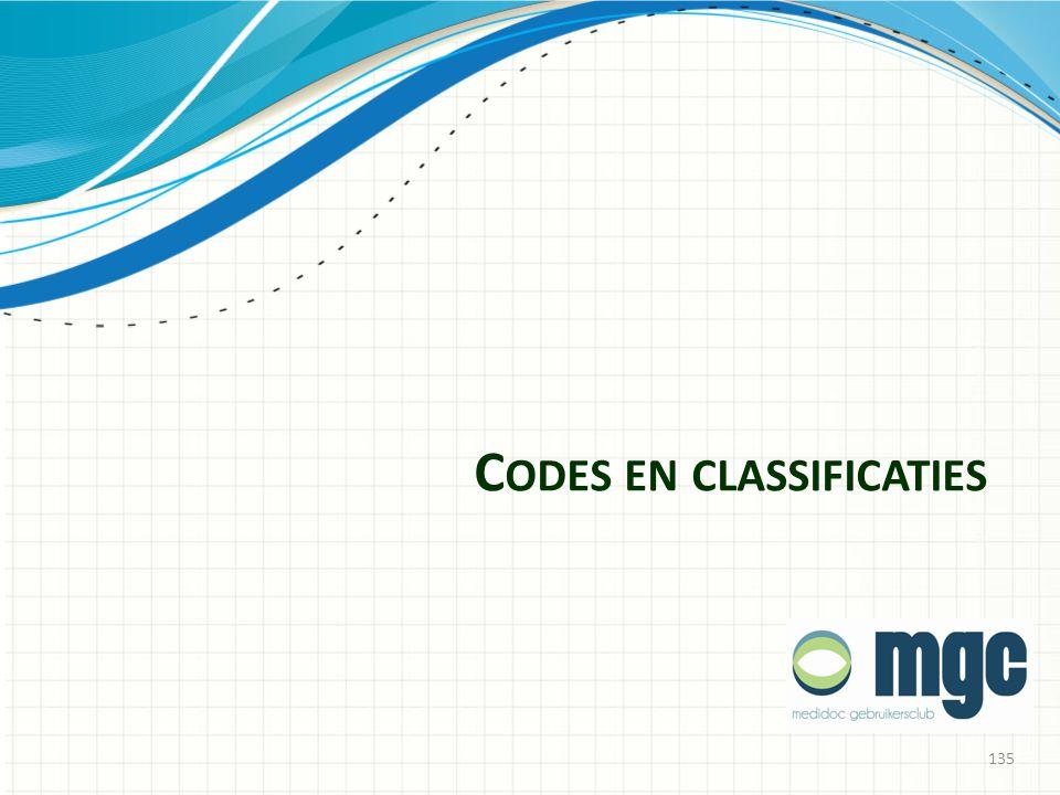 C ODES EN CLASSIFICATIES 135