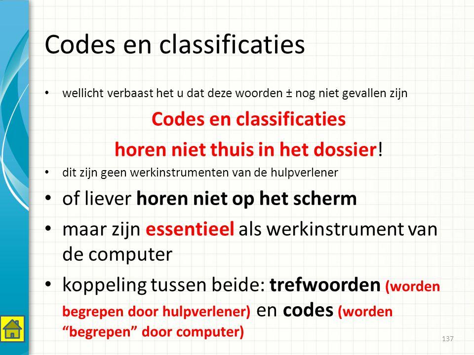 Codes en classificaties wellicht verbaast het u dat deze woorden ± nog niet gevallen zijn Codes en classificaties horen niet thuis in het dossier.