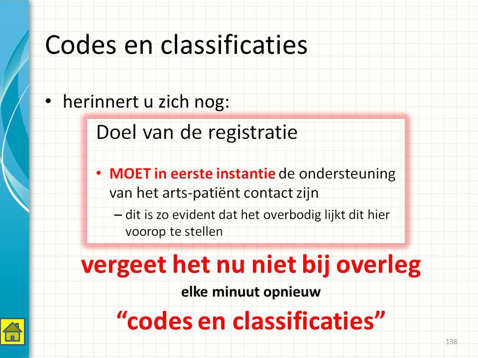 Codes en classificaties herinnert u zich nog: vergeet het nu niet bij overleg elke minuut opnieuw codes en classificaties 138