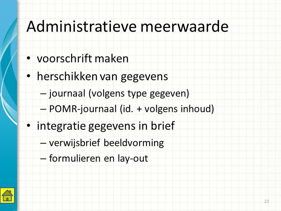 Administratieve meerwaarde voorschrift maken herschikken van gegevens – journaal (volgens type gegeven) – POMR-journaal (id.