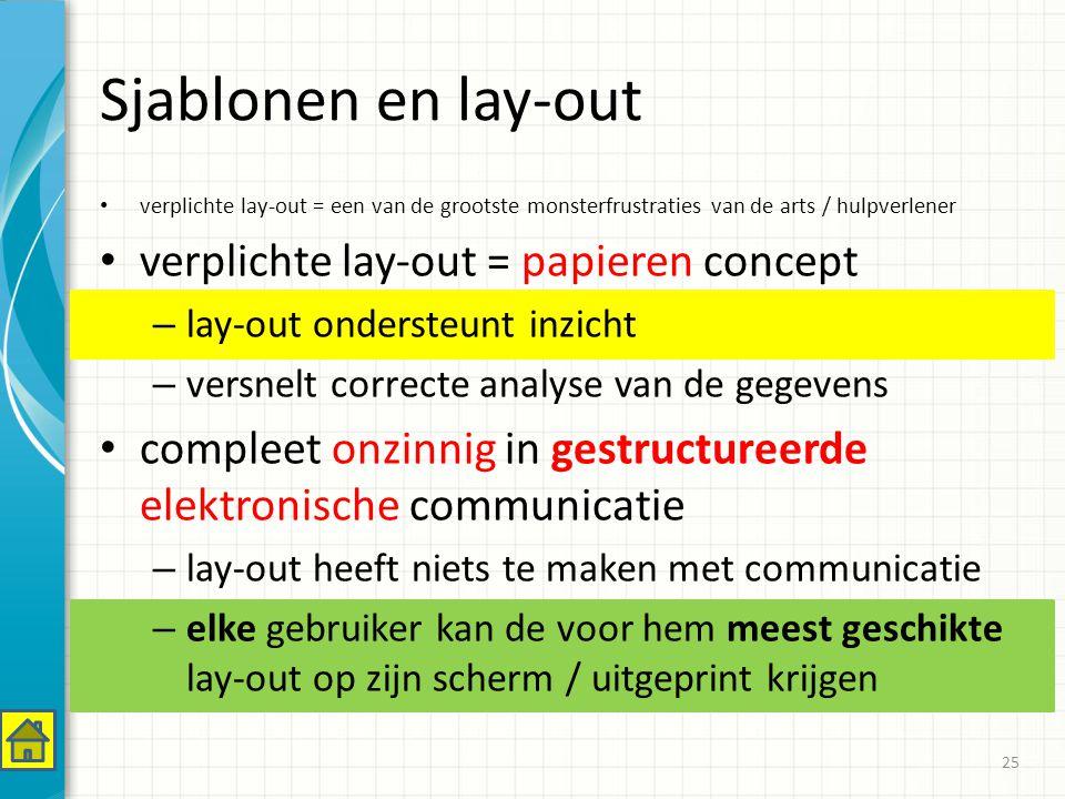 Sjablonen en lay-out verplichte lay-out = een van de grootste monsterfrustraties van de arts / hulpverlener verplichte lay-out = papieren concept – lay-out ondersteunt inzicht – versnelt correcte analyse van de gegevens compleet onzinnig in gestructureerde elektronische communicatie – lay-out heeft niets te maken met communicatie – elke gebruiker kan de voor hem meest geschikte lay-out op zijn scherm / uitgeprint krijgen 25