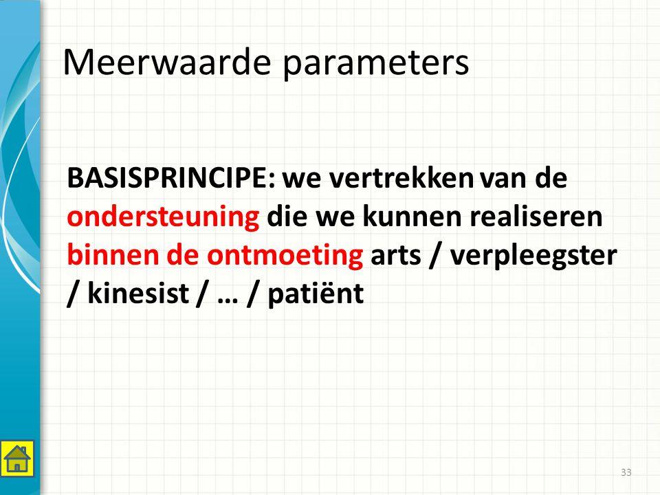 Meerwaarde parameters BASISPRINCIPE: we vertrekken van de ondersteuning die we kunnen realiseren binnen de ontmoeting arts / verpleegster / kinesist / … / patiënt 33