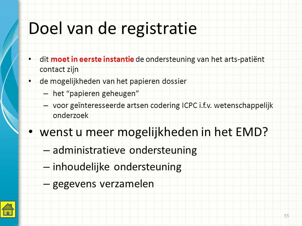 Doel van de registratie dit moet in eerste instantie de ondersteuning van het arts-patiënt contact zijn de mogelijkheden van het papieren dossier – het papieren geheugen – voor geïnteresseerde artsen codering ICPC i.f.v.
