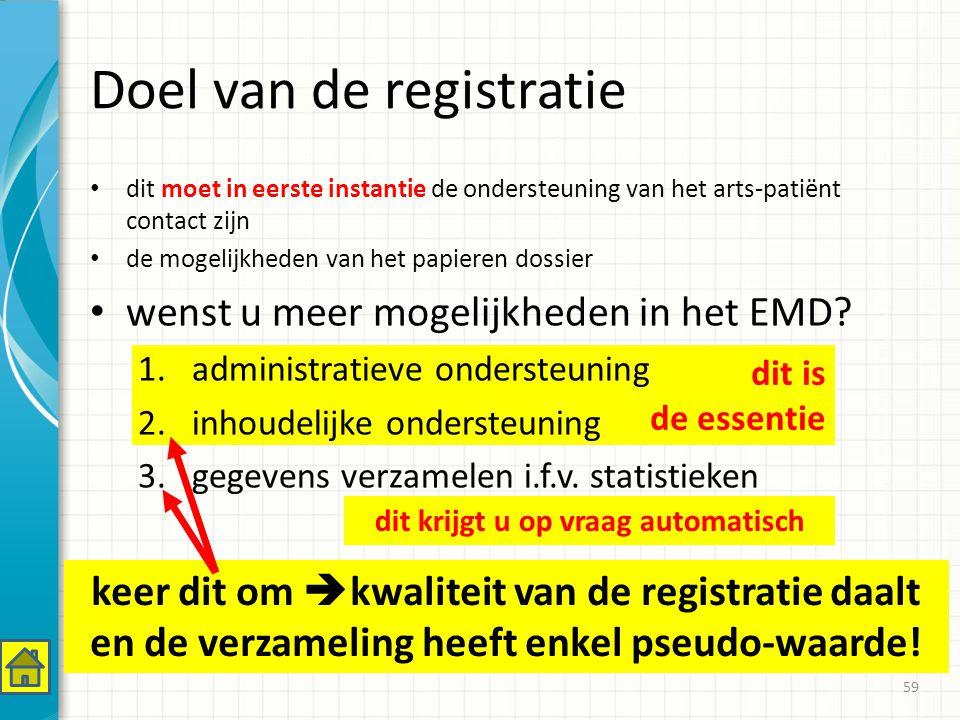 dit is de essentie Doel van de registratie dit moet in eerste instantie de ondersteuning van het arts-patiënt contact zijn de mogelijkheden van het papieren dossier wenst u meer mogelijkheden in het EMD.