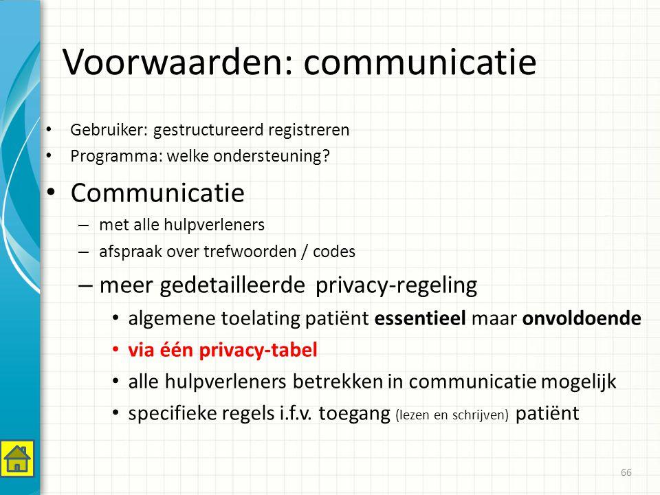 Voorwaarden: communicatie Gebruiker: gestructureerd registreren Programma: welke ondersteuning.