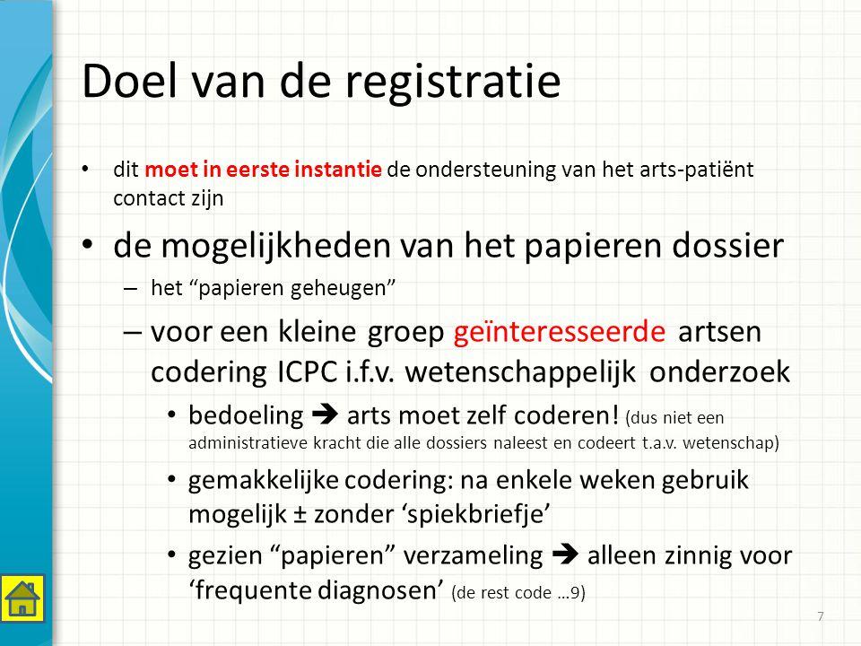 Verzamelen van gegevens op niveau van de patiënt = onmiddellijke ondersteuning in de consultatie op niveau van een groep patiënten op niveau van wetenschappelijk onderzoek of op vraag van de overheid – respect privacy.