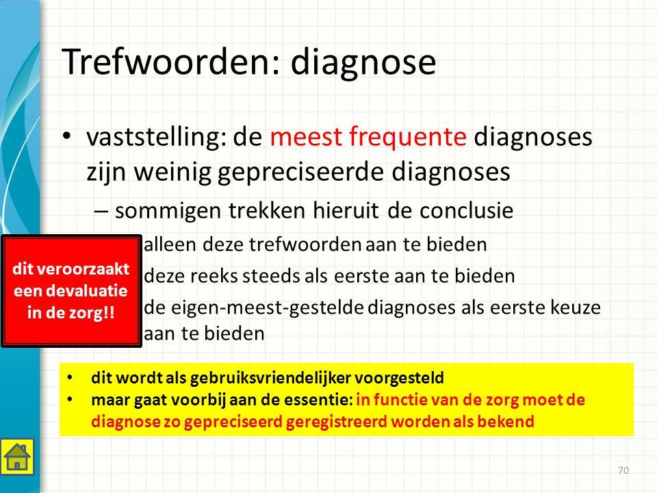 Trefwoorden: diagnose vaststelling: de meest frequente diagnoses zijn weinig gepreciseerde diagnoses – sommigen trekken hieruit de conclusie alleen deze trefwoorden aan te bieden deze reeks steeds als eerste aan te bieden de eigen-meest-gestelde diagnoses als eerste keuze aan te bieden 70 dit wordt als gebruiksvriendelijker voorgesteld maar gaat voorbij aan de essentie: in functie van de zorg moet de diagnose zo gepreciseerd geregistreerd worden als bekend dit veroorzaakt een devaluatie in de zorg!!