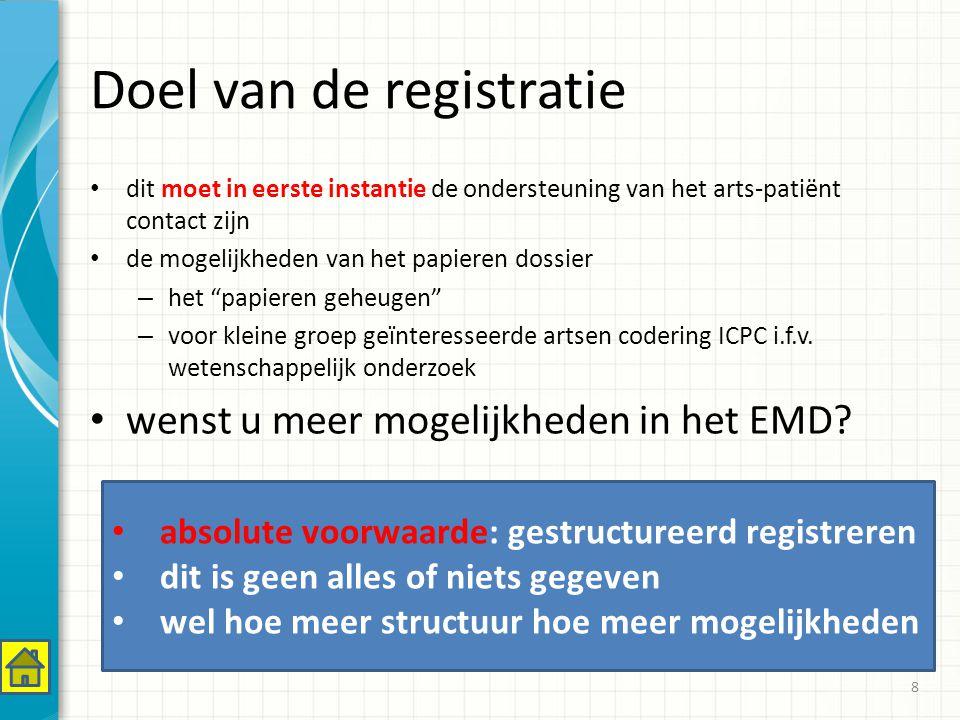 Doel van de registratie dit moet in eerste instantie de ondersteuning van het arts-patiënt contact zijn de mogelijkheden van het papieren dossier – het papieren geheugen – voor kleine groep geïnteresseerde artsen codering ICPC i.f.v.