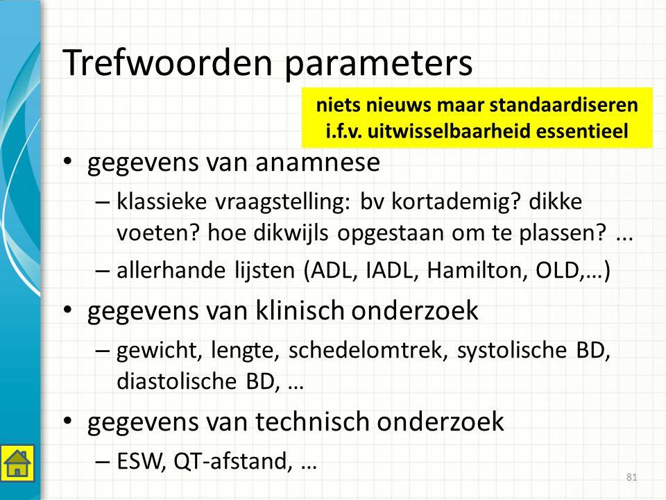 Trefwoorden parameters gegevens van anamnese – klassieke vraagstelling: bv kortademig.