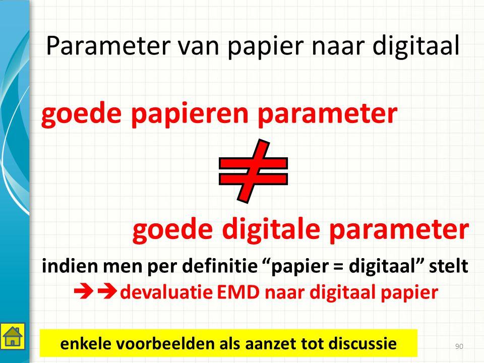 Parameter van papier naar digitaal goede papieren parameter goede digitale parameter indien men per definitie papier = digitaal stelt  devaluatie EMD naar digitaal papier 90 enkele voorbeelden als aanzet tot discussie