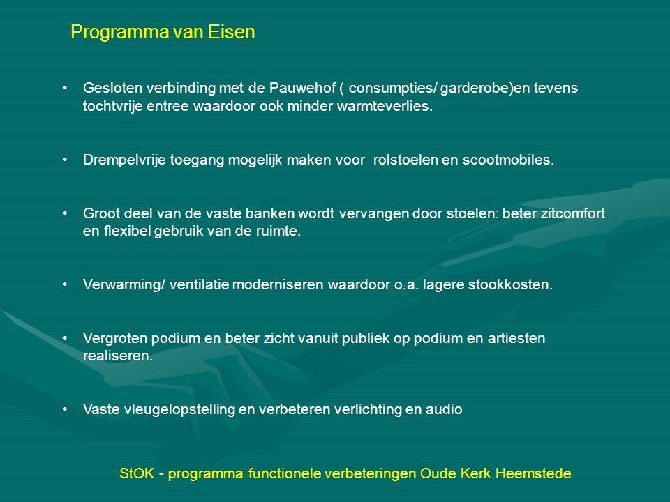 StOK - programma functionele verbeteringen Oude Kerk Heemstede Programma van Eisen Gesloten verbinding met de Pauwehof ( consumpties/ garderobe)en tev