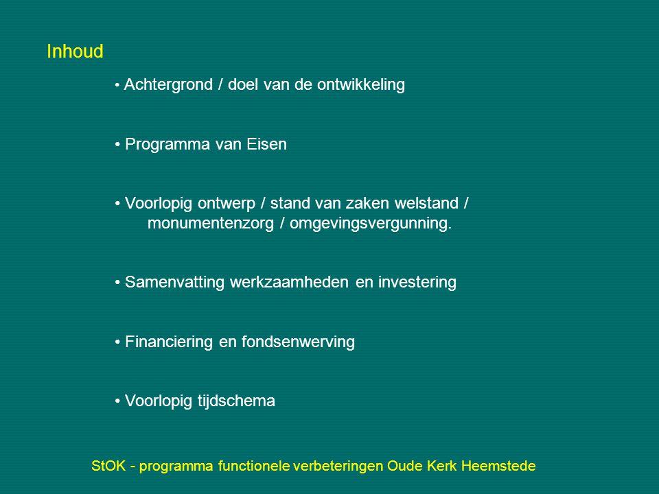 Achtergrond / doel van de ontwikkeling Eigendom van de protestantse gemeente van Heemstede.