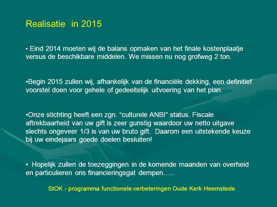 StOK - programma functionele verbeteringen Oude Kerk Heemstede Realisatie in 2015 Eind 2014 moeten wij de balans opmaken van het finale kostenplaatje