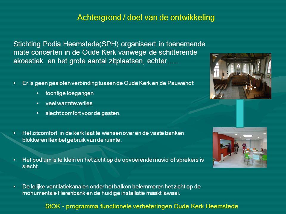 StOK - programma functionele verbeteringen Oude Kerk Heemstede Achtergrond / doel van de ontwikkeling Stichting Podia Heemstede(SPH) organiseert in to