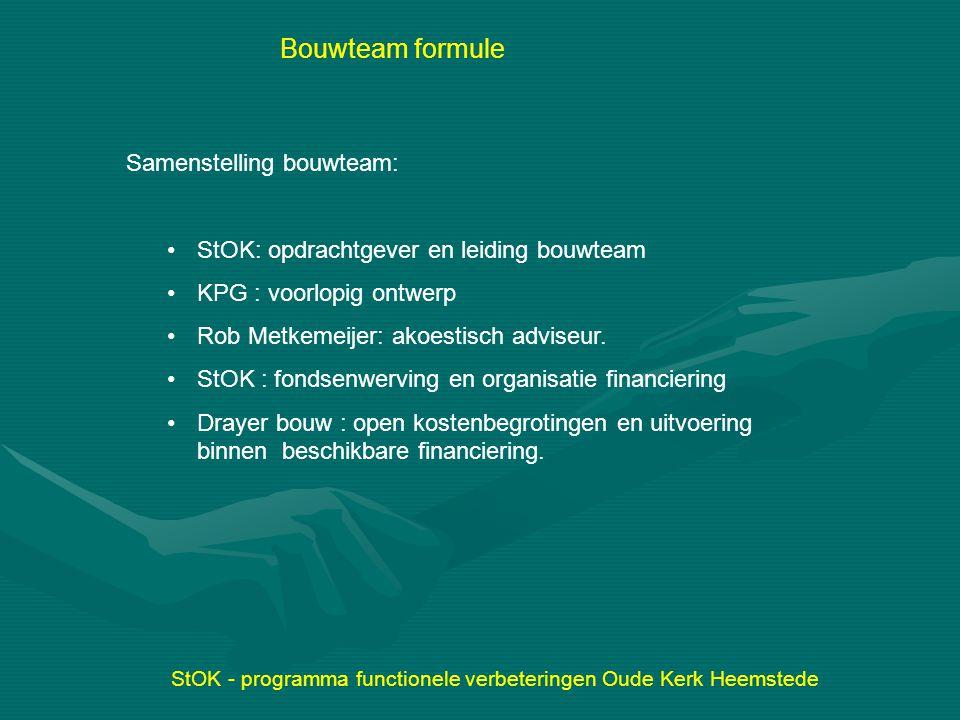 Samenstelling bouwteam: StOK: opdrachtgever en leiding bouwteam KPG : voorlopig ontwerp Rob Metkemeijer: akoestisch adviseur. StOK : fondsenwerving en