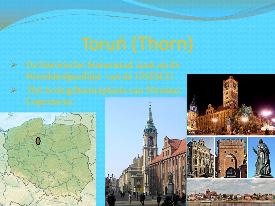 Toru ń (Thorn)  De historische binnenstad staat op de Werelderfgoedlijst van de UNESCO.  Het is de geboorteplaats van Nicolaas Copernicus.