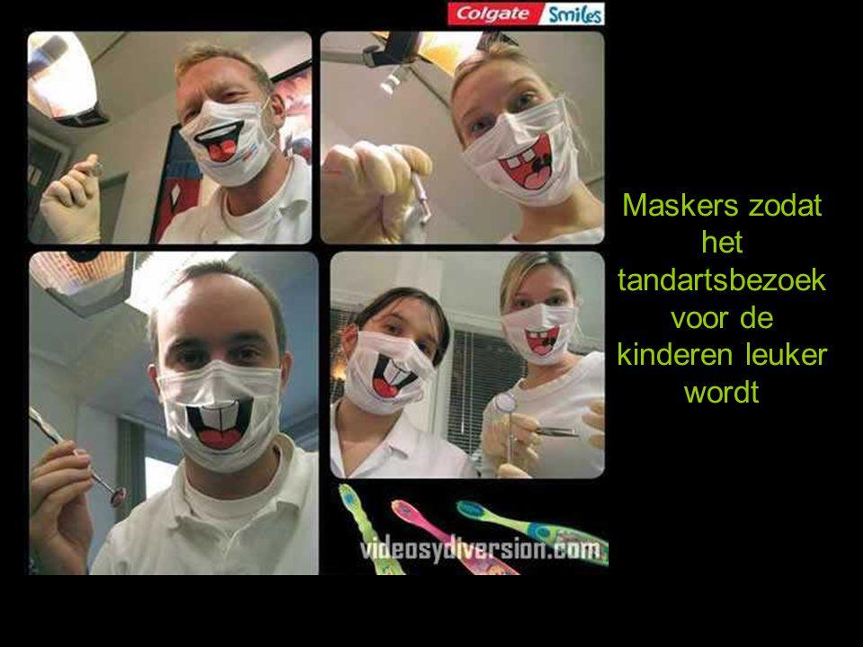 Maskers zodat het tandartsbezoek voor de kinderen leuker wordt